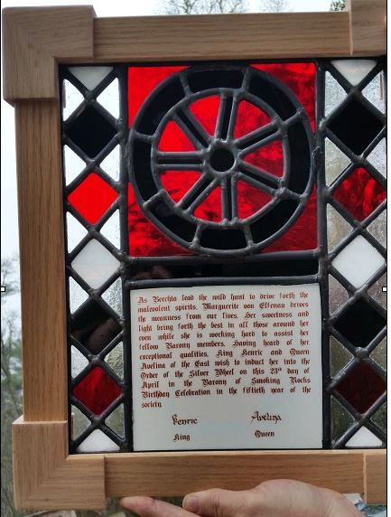 Silver Wheel Stained Glass Scroll by Solskinn
